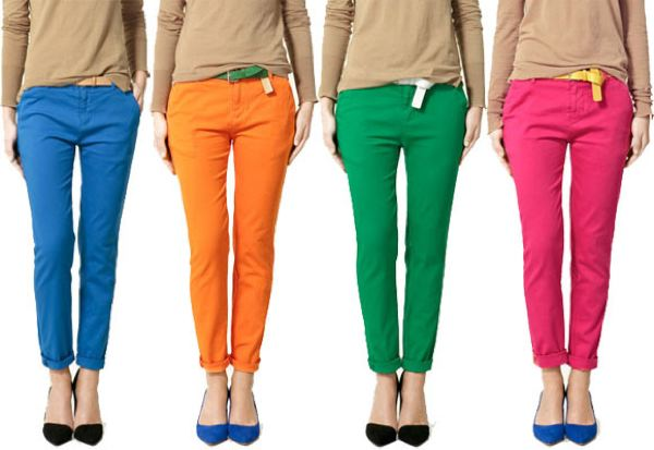 Slim, trim jeans in bright, bold colors