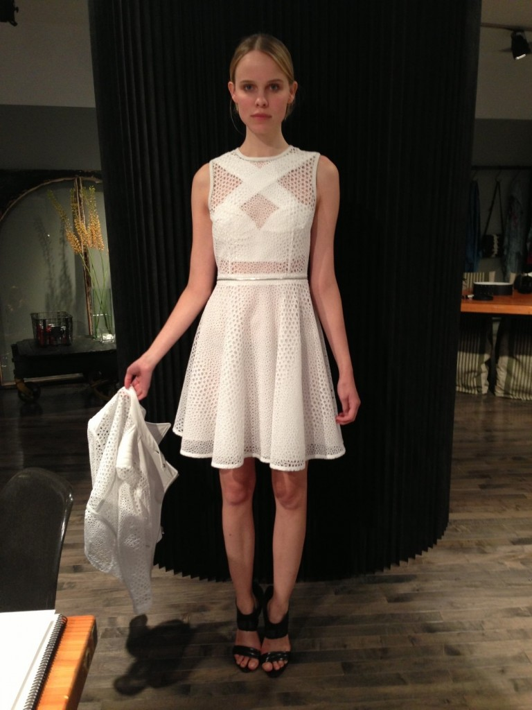 White cotton open weave dress by Yigal Azrouel