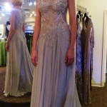 Shannon Willis in Alberto Makali beaded lace and chiffon gown