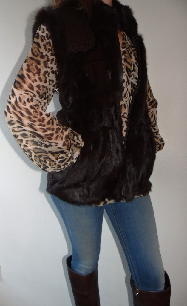 Leopard Top Under a Fur Vest