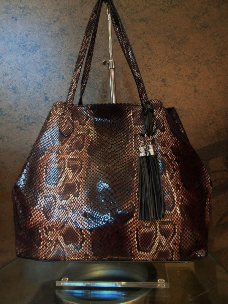 Brown snake print handbag