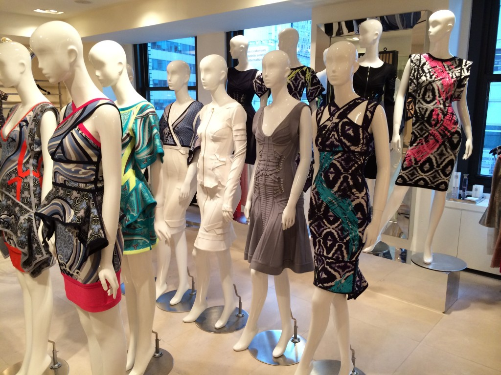 Herve Leger, king of body conscious dresses, has an amazing showroom.