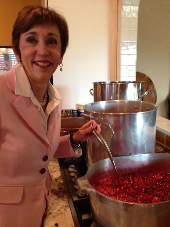 Cook Nan Napier making 160 jars of Tres Mariposas Cranberry-Raspberry Sauce.