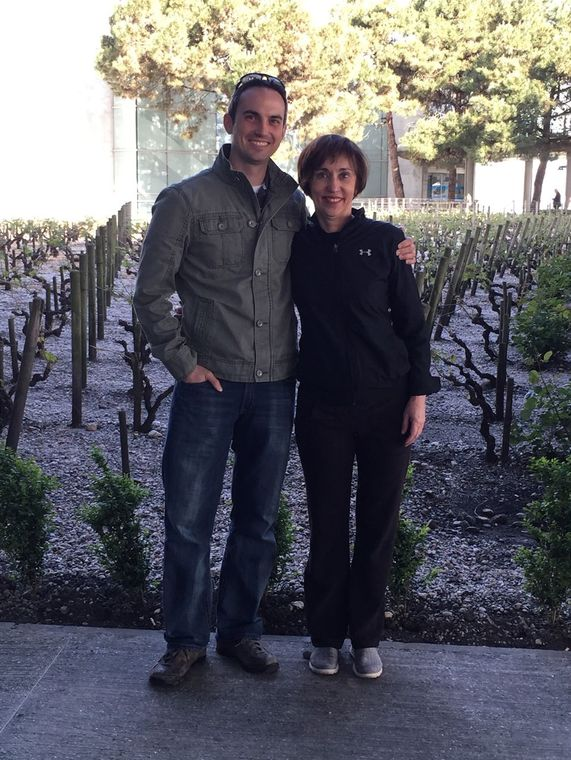 Nan with her son, Creed, at the vineyard outside the Bordeaux airport