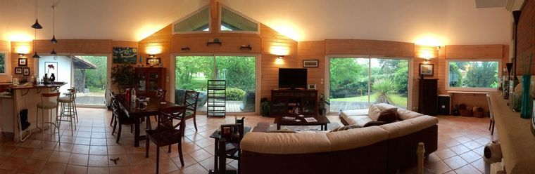 A panoramic view of my son and daughter-in-law's home along a canal in France.