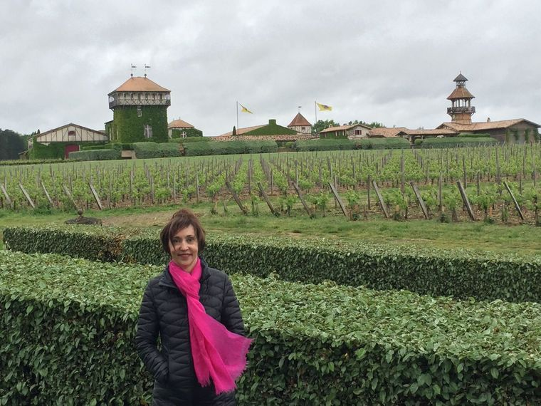 In front of rows of grapevines at the Chateau Smith Haut Lafitte