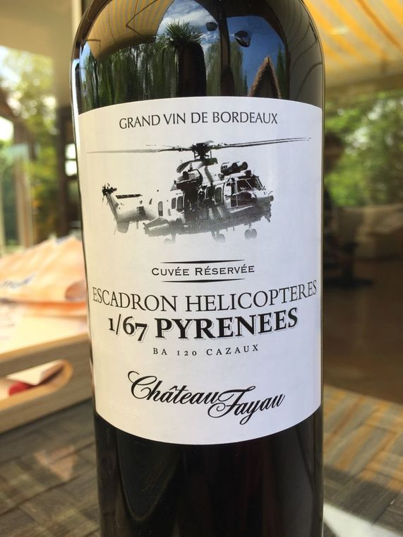 Creed's French squadron has its own wine: Escadron Helicopteres, a Grand Vin de Bordeaux.