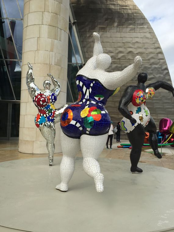 'Nanas' by Niki de Saint Phalle at the Guggenheim Museum in Bilbao, Spain.