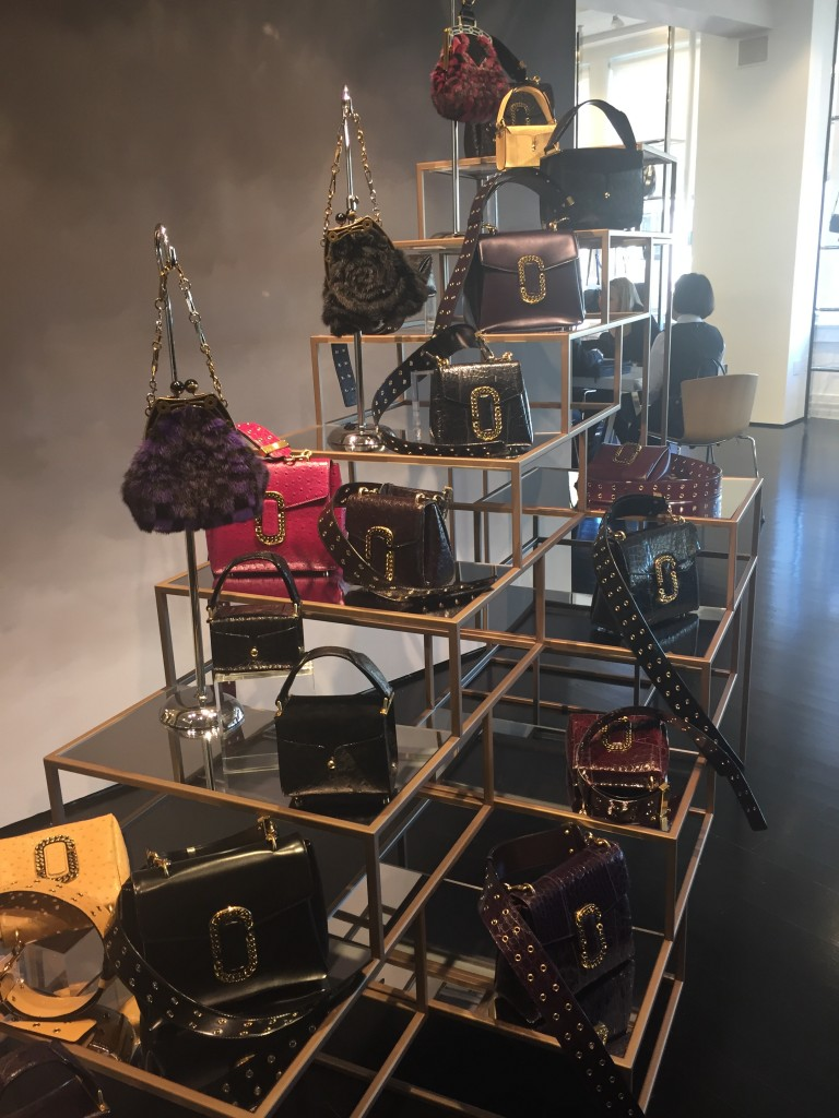 Handbags on display in showroom last week