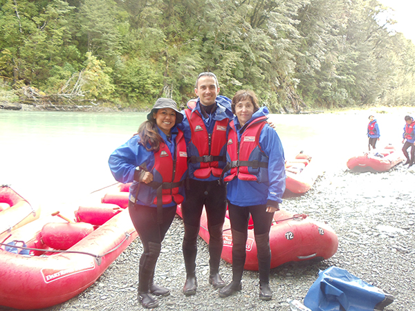 We're wearing six layers of clothes to jet boat the Dart River in New Zealand.